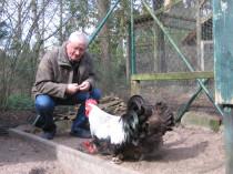 Paul Deing mit Tieren seines Zuchtbestandes